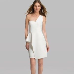 Halston Heritage crepe one shoulder peplum dress